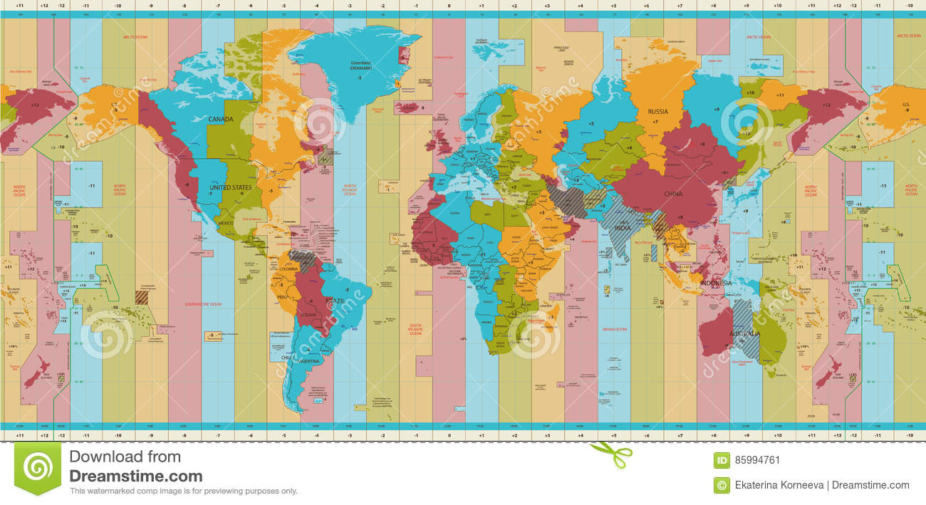 Detailed World Map Standard Time Zones Stock Vector ...