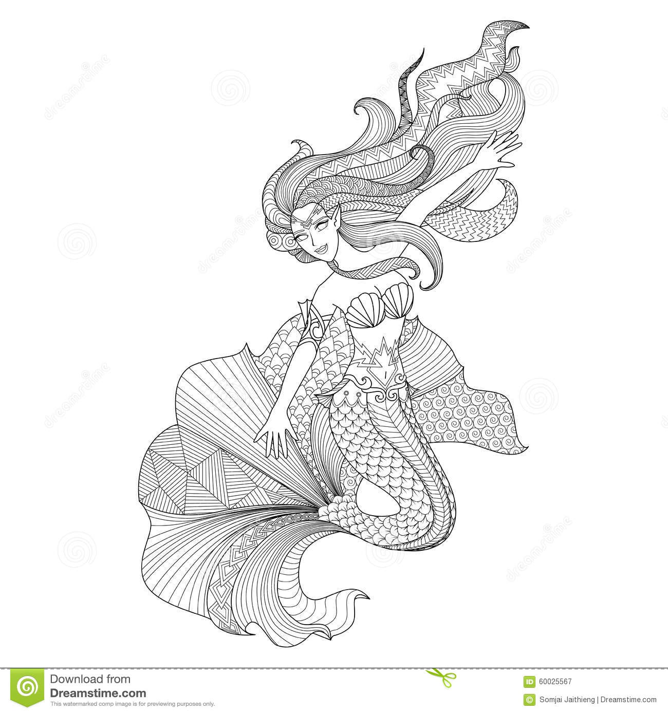 Detailed Zentangle Mermaid For Coloring Page Stock Vector ...
