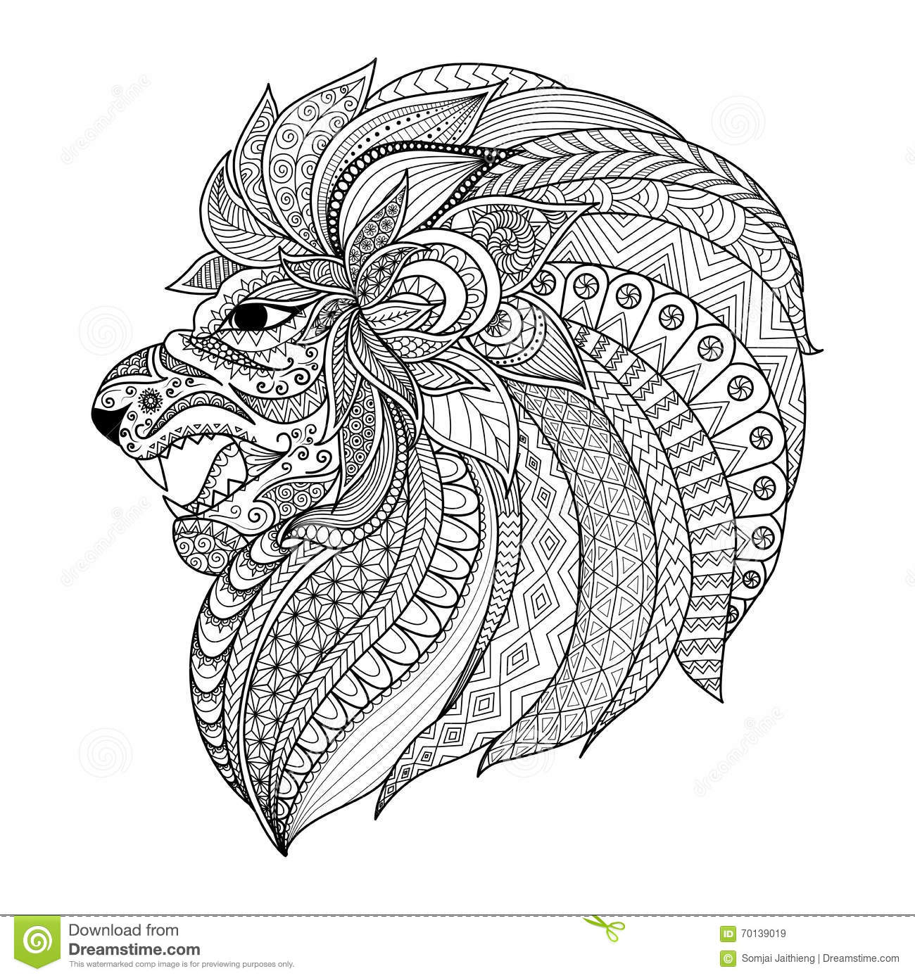 Detailed zentangle stylized lion for t shirt graphic for Lion mandala coloring pages