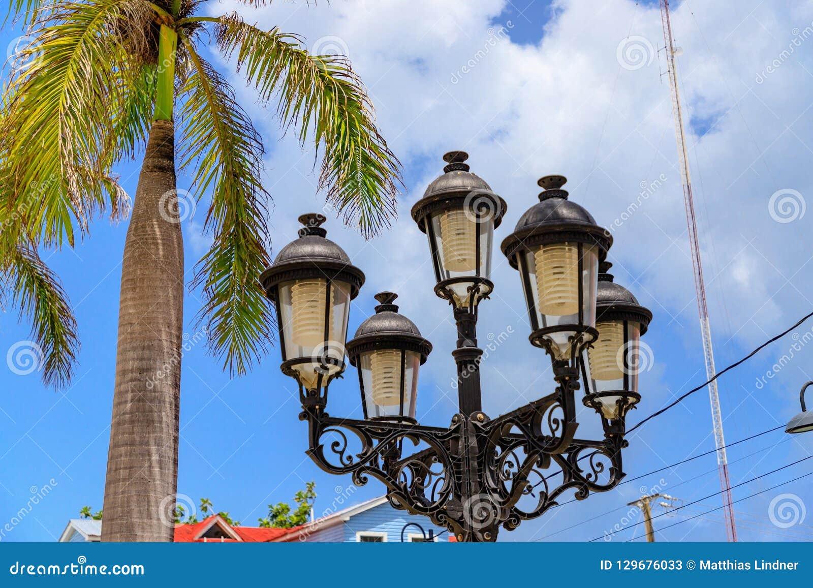 Detailfoto von Straßenlaternen und von Palmen im karibischen Esprit