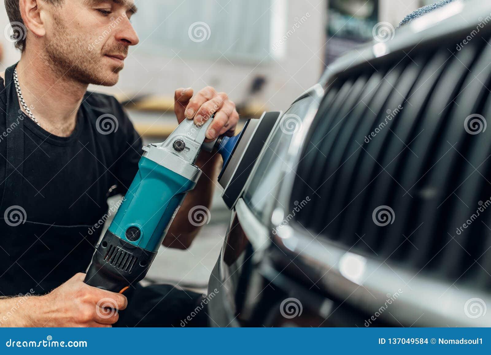 Detailing Of Car Headlight On Car-wash Service Stock Photo ...