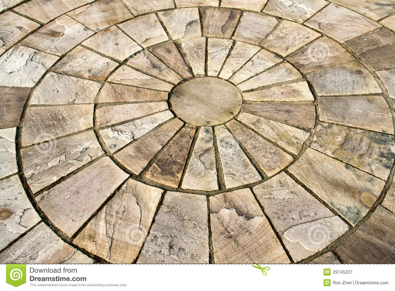 Display of stone floor tiles circle royalty free stock for Garden floor design