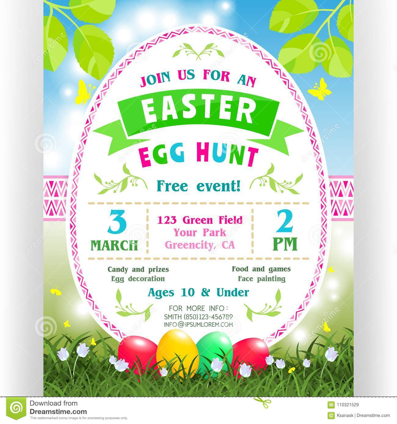 Easter egg hunt announcing poster template with text customized for download easter egg hunt announcing poster template with text customized for invitation stock vector stopboris Choice Image