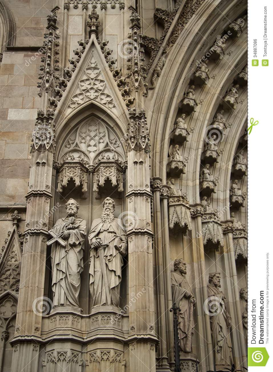 Details On Her 3 Shades Of: Details Of Facade Of Main Cathedral Of Barcelona Stock