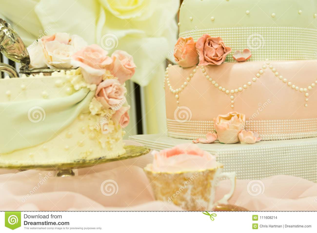 A Fancy Wedding Cake Display Table Stock Photo - Image of details ...