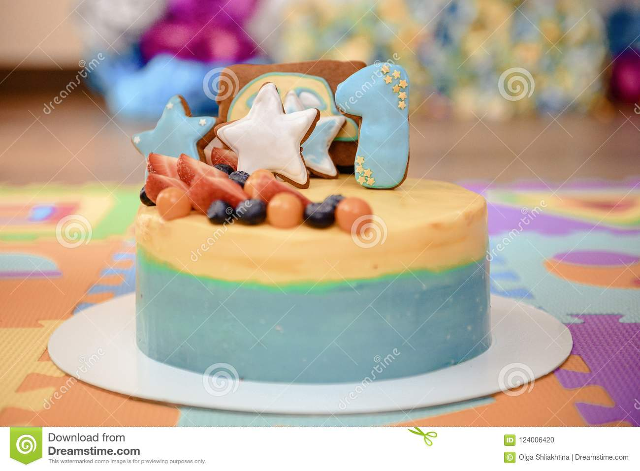Details Of A First Year Birthday Cake In Blue For Boy Stock Photo