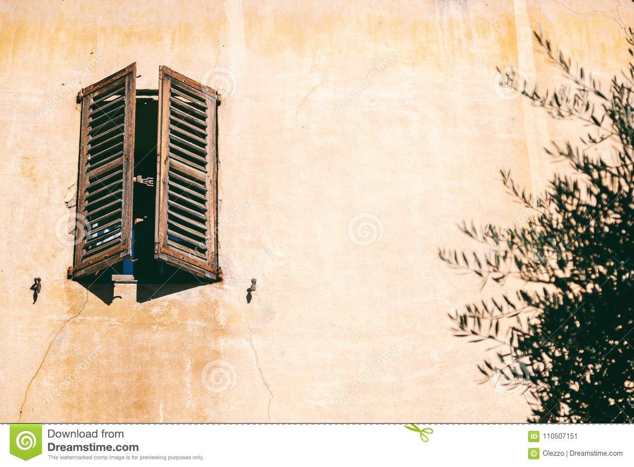 Details Of French Architecture Wooden Window With Shutters