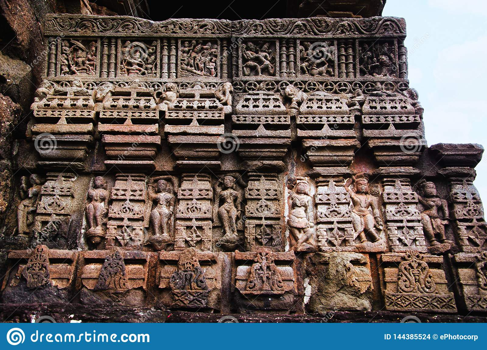 Details, Gondeshwar-Tempel, Sinnar, nahe Nashik schnitzen, Maharashtra, Indien