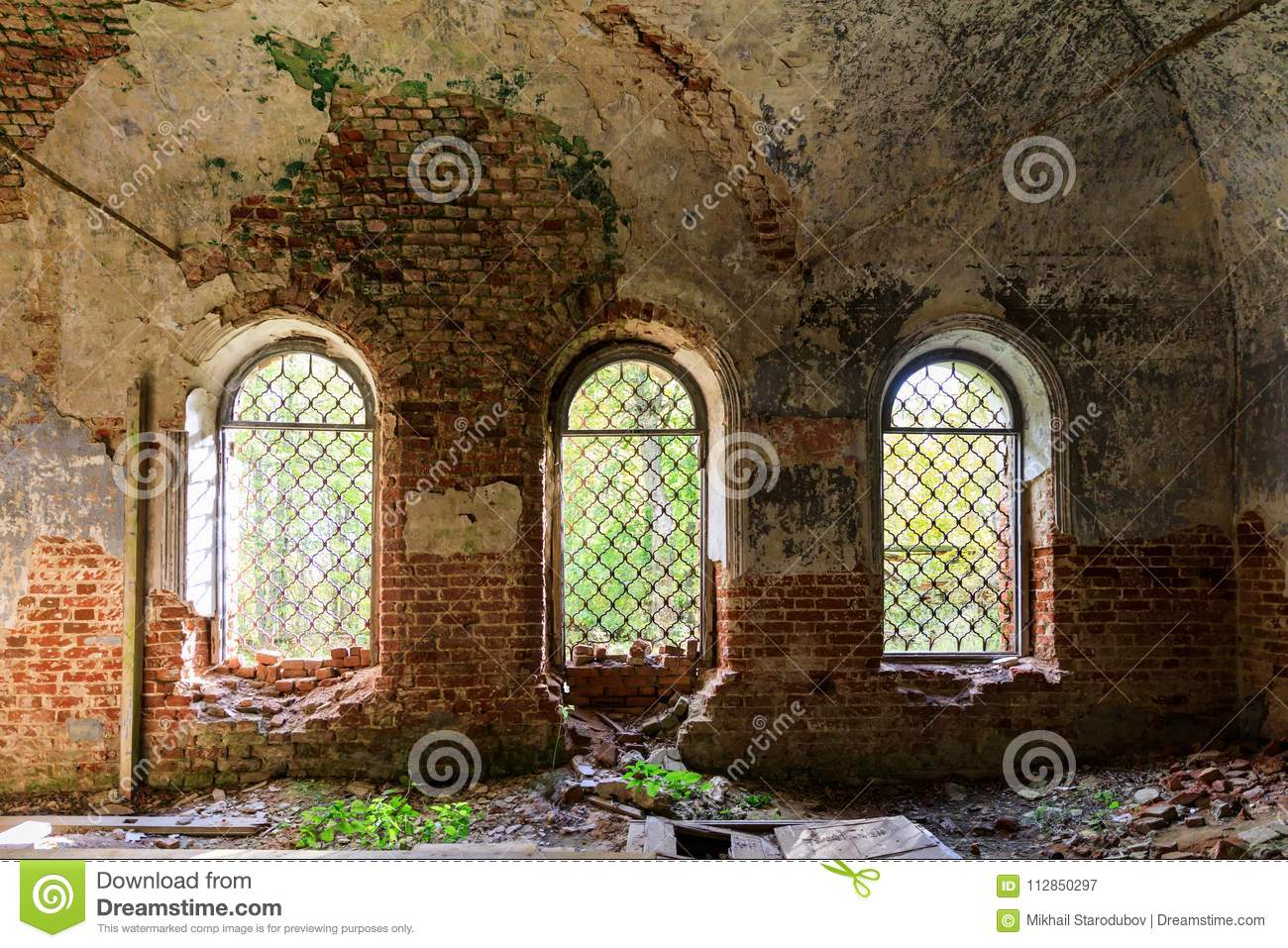 Details of the interior of the destroyed Orthodox Church of St. George the Victorious in the forests of the Kostroma