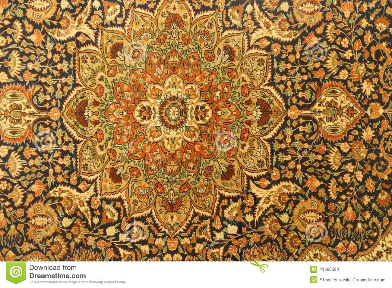 Details Of Intricate Blue Patterns In Turkish Carpets ...