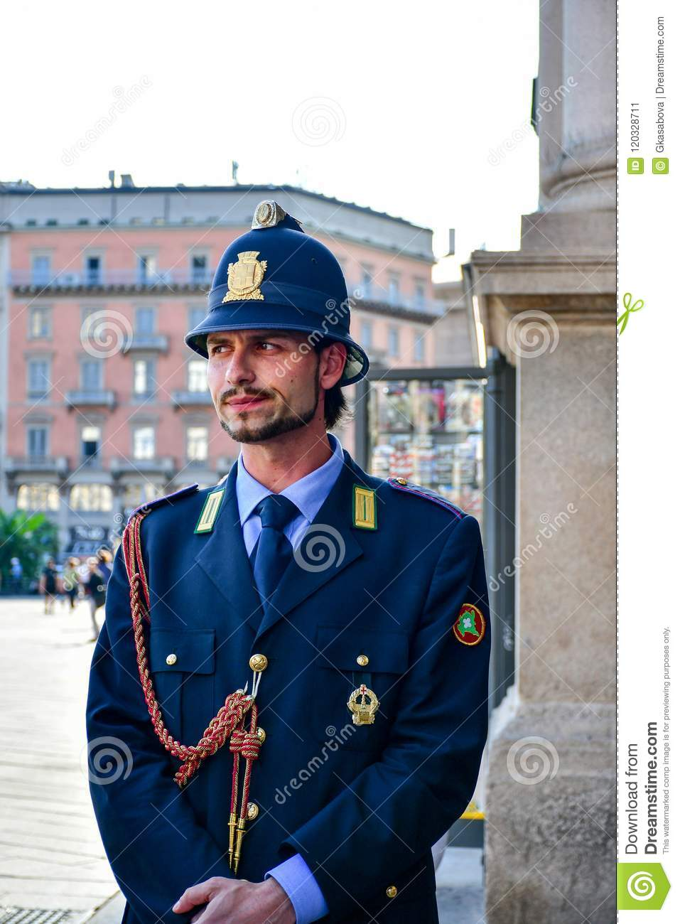 Details Of Italy Handsome Italian Policeman Editorial Photo