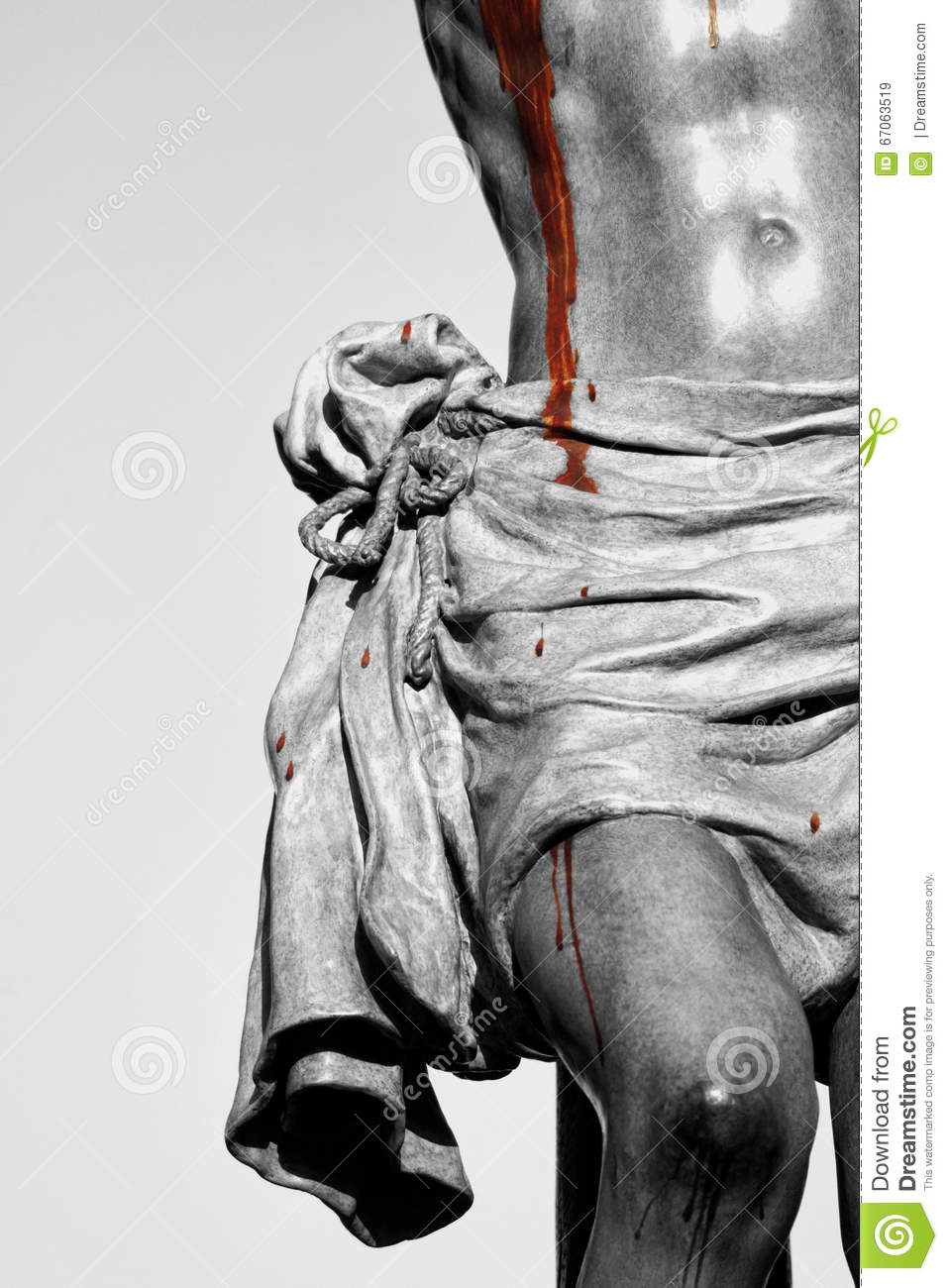 details of jesus on the cross bleeding from wounds holy week in