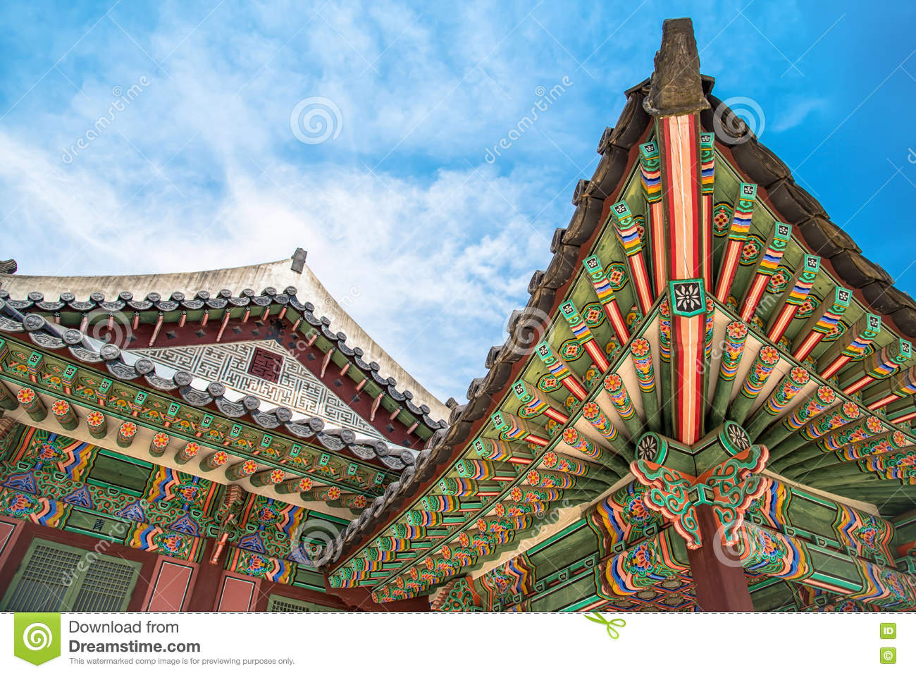 Details Of Korean Traditional Roofing Architecture In Changdeokgung Palace  Stock Photo