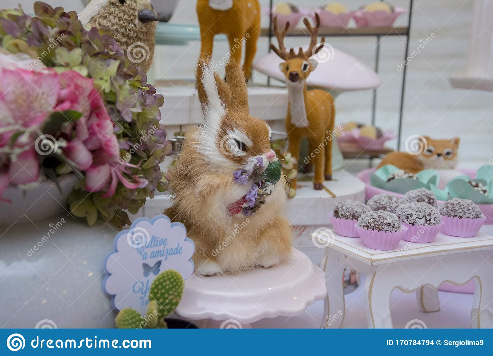 Pleasant Details Of Luxurious Table Of Sweets And Birthday Cake Stock Photo Funny Birthday Cards Online Chimdamsfinfo