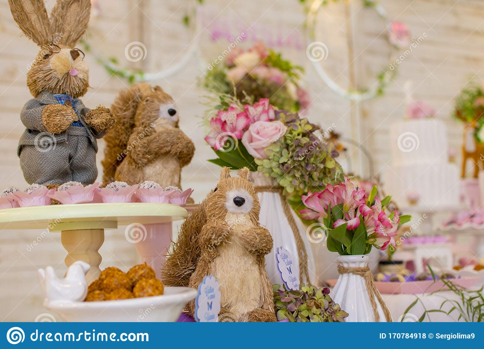 Admirable Details Of Luxurious Table Of Sweets And Birthday Cake Stock Photo Funny Birthday Cards Online Chimdamsfinfo