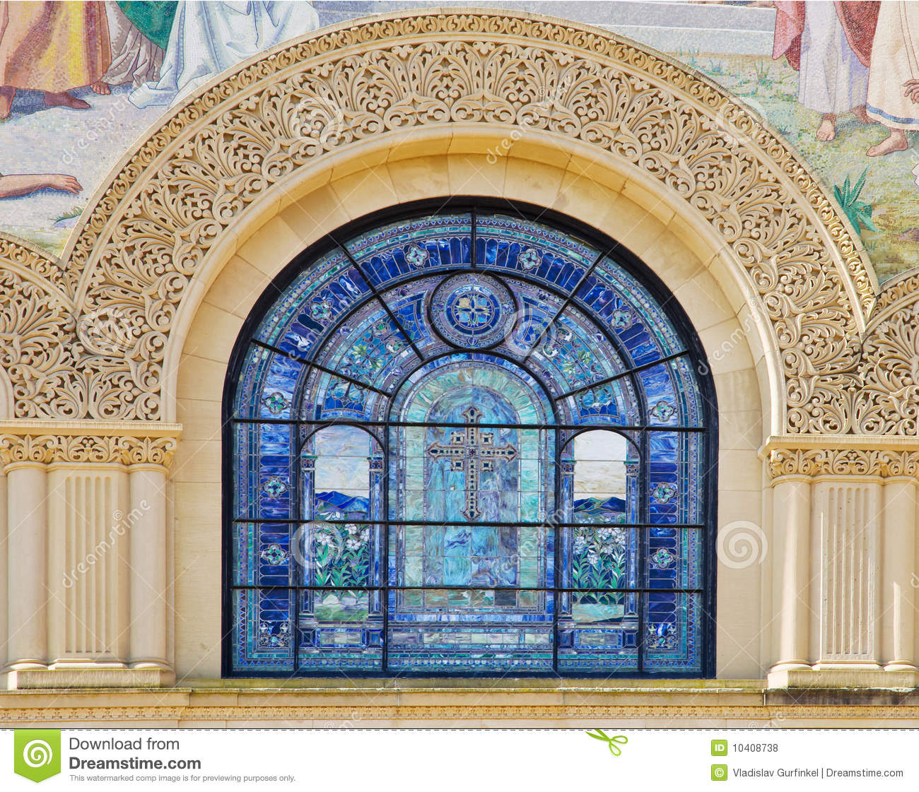 Suite of Three Religious Stained Glass Windows with ... |Stone Glass Window