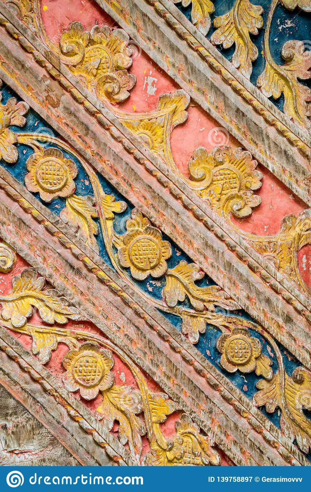 Details of traditional local balinese wood carving ornaments royalty free stock photography