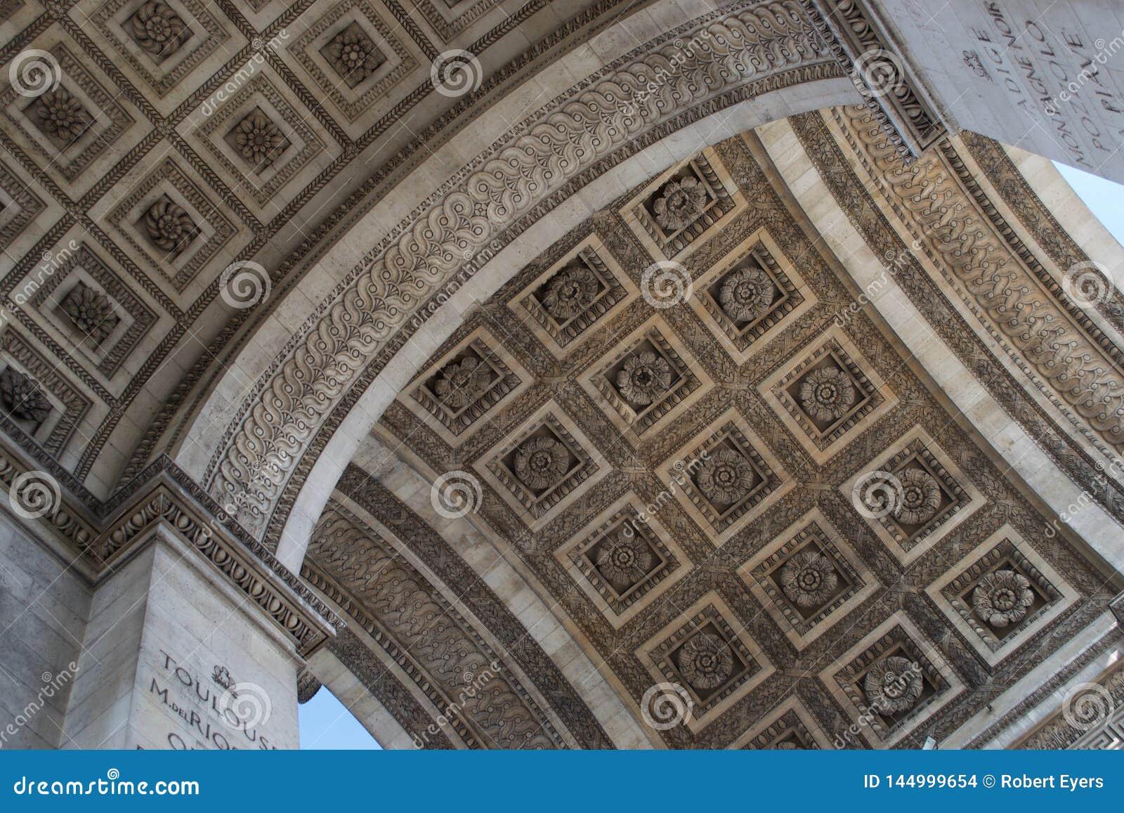 Details van dak van Arc de Triomphe, Parijs, Frankrijk