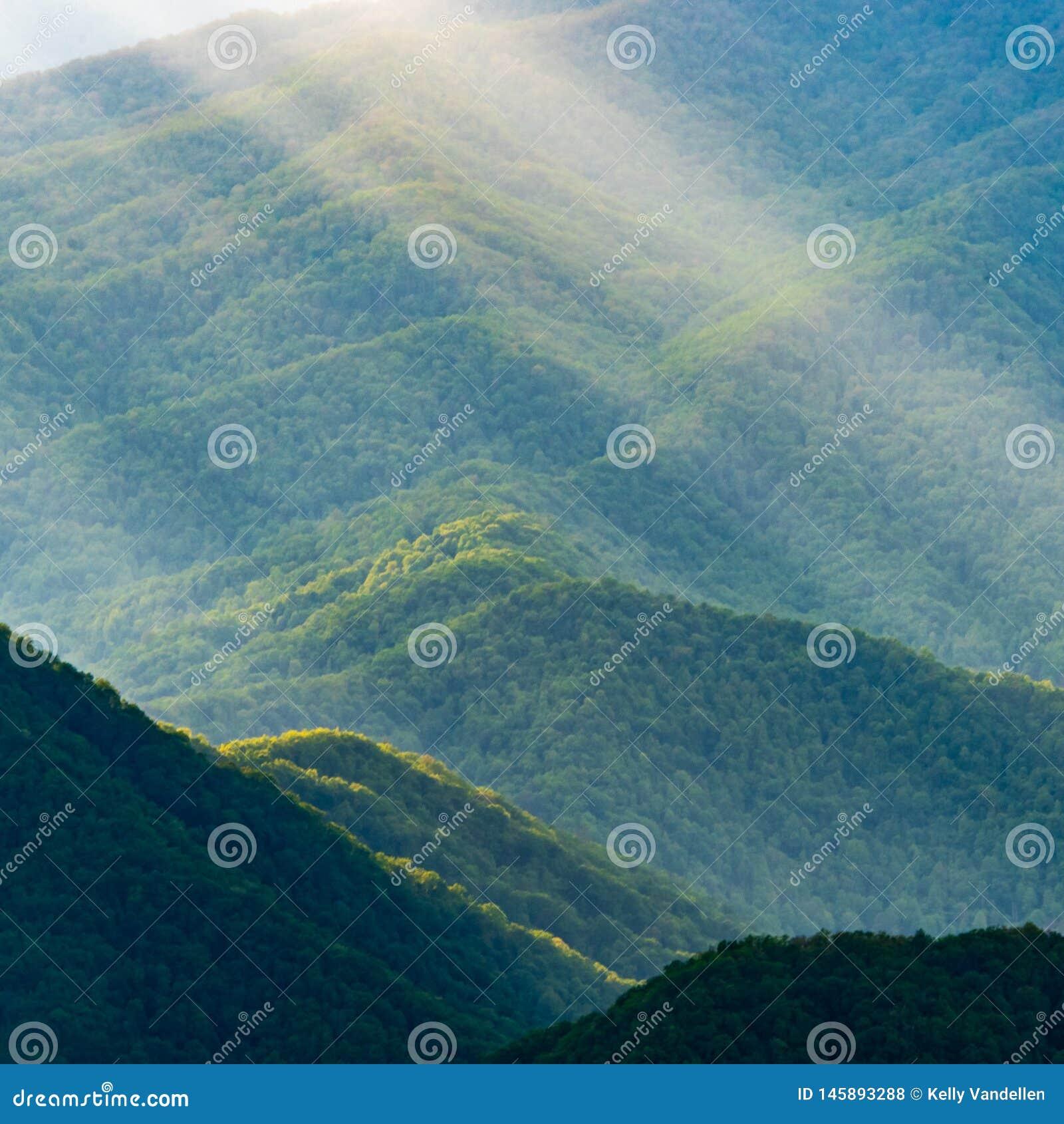 Details van Groene Berghellingen met Zonstralen