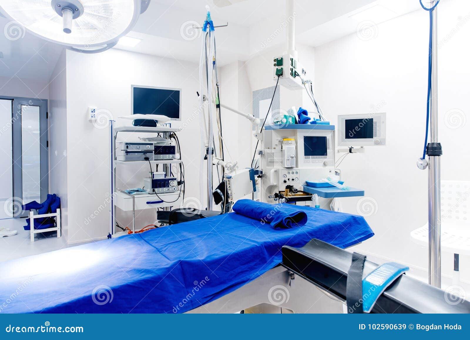Details van technologische medische apparatuur in chirurgieruimte Het levenssteunregelingen De details van het chirurgenleven