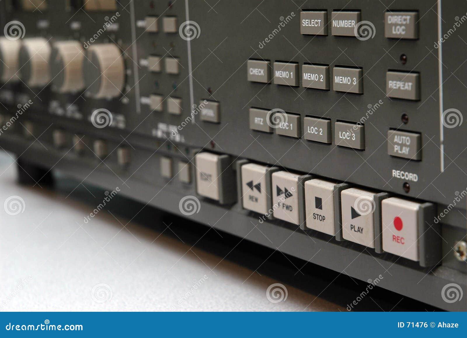 Detalhe análogo da máquina de fita