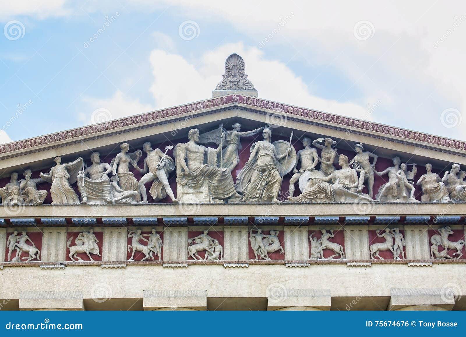 Detalhe da arquitetura da réplica do Partenon