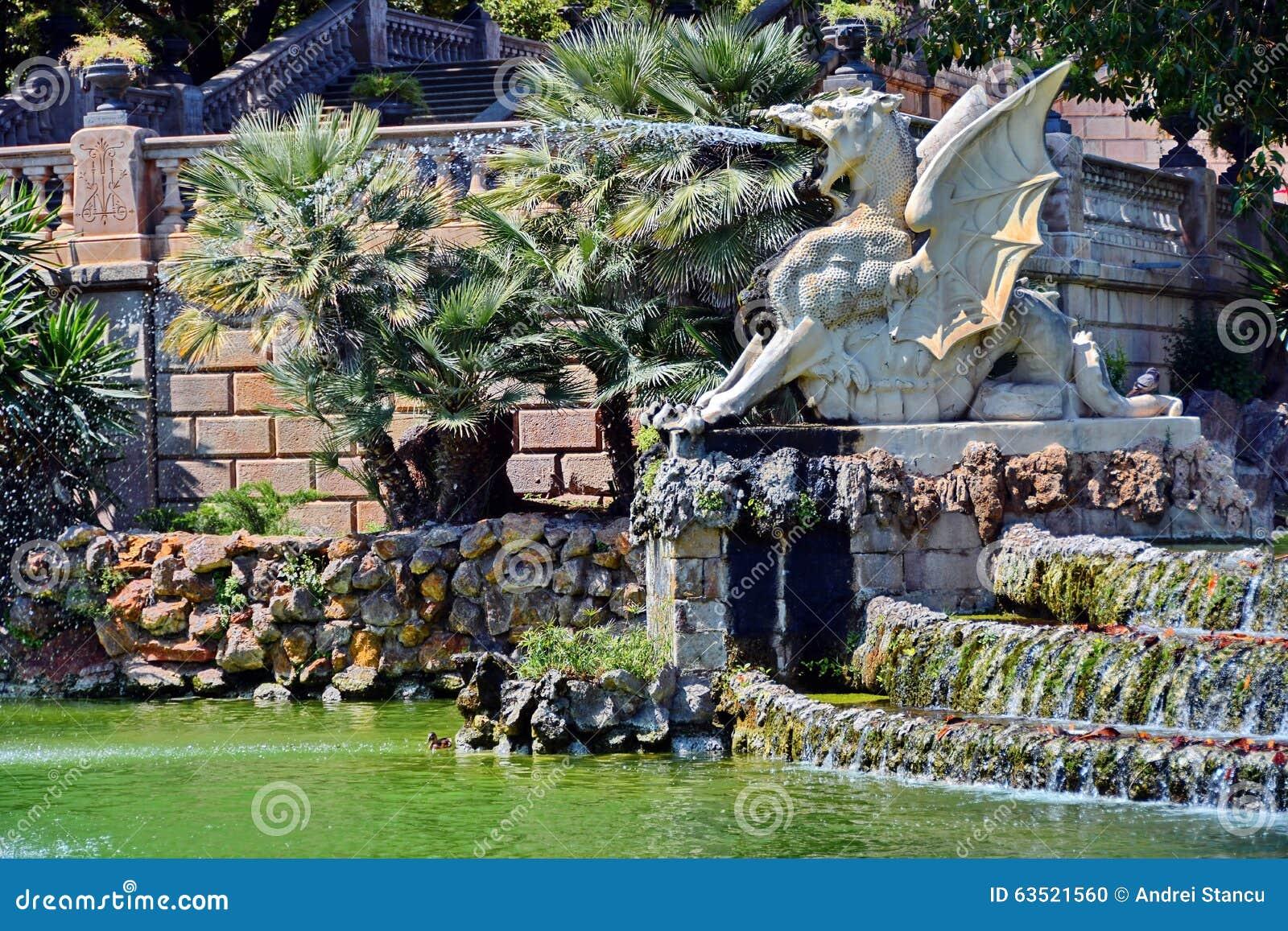 Detalhe da fonte no parque de Ciutadella