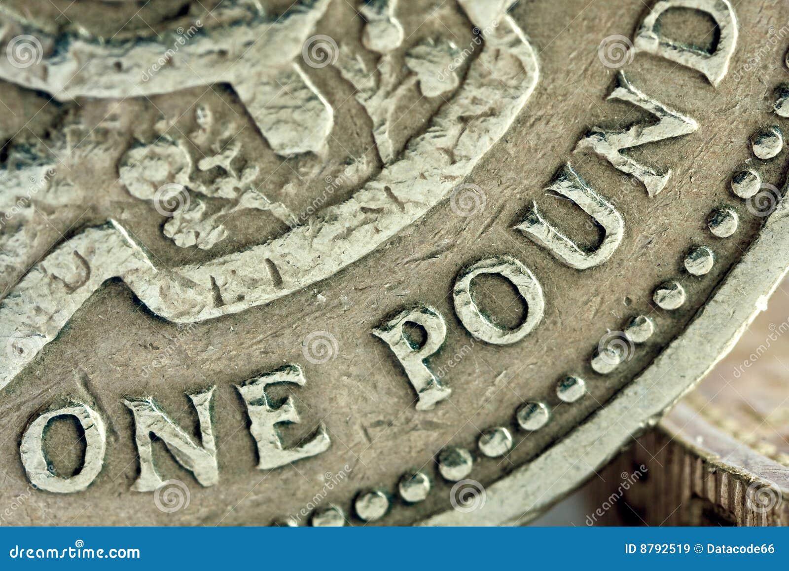 Detalhe da moeda de libra