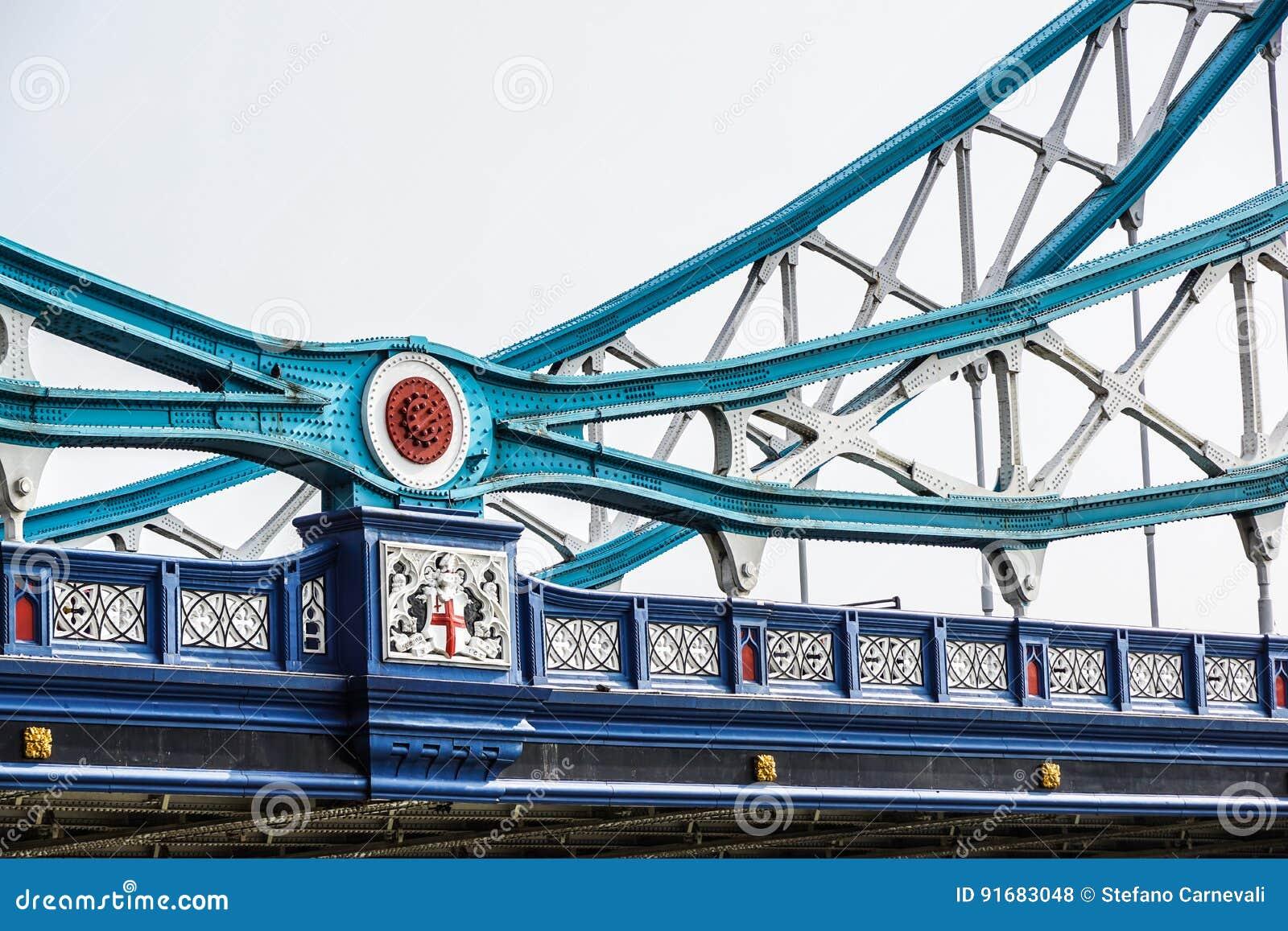 Detalhe de ponte da torre sobre o rio Tamisa, Londres, Reino Unido