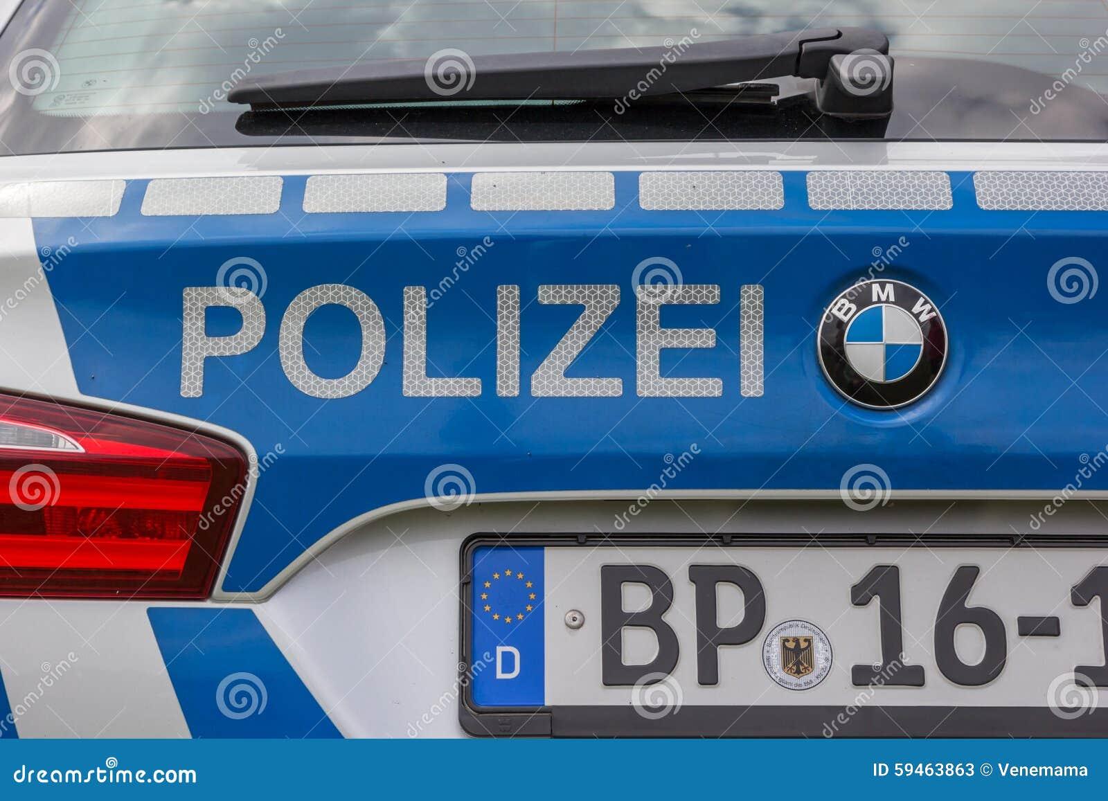 Detalhe de um carro de polícia alemão