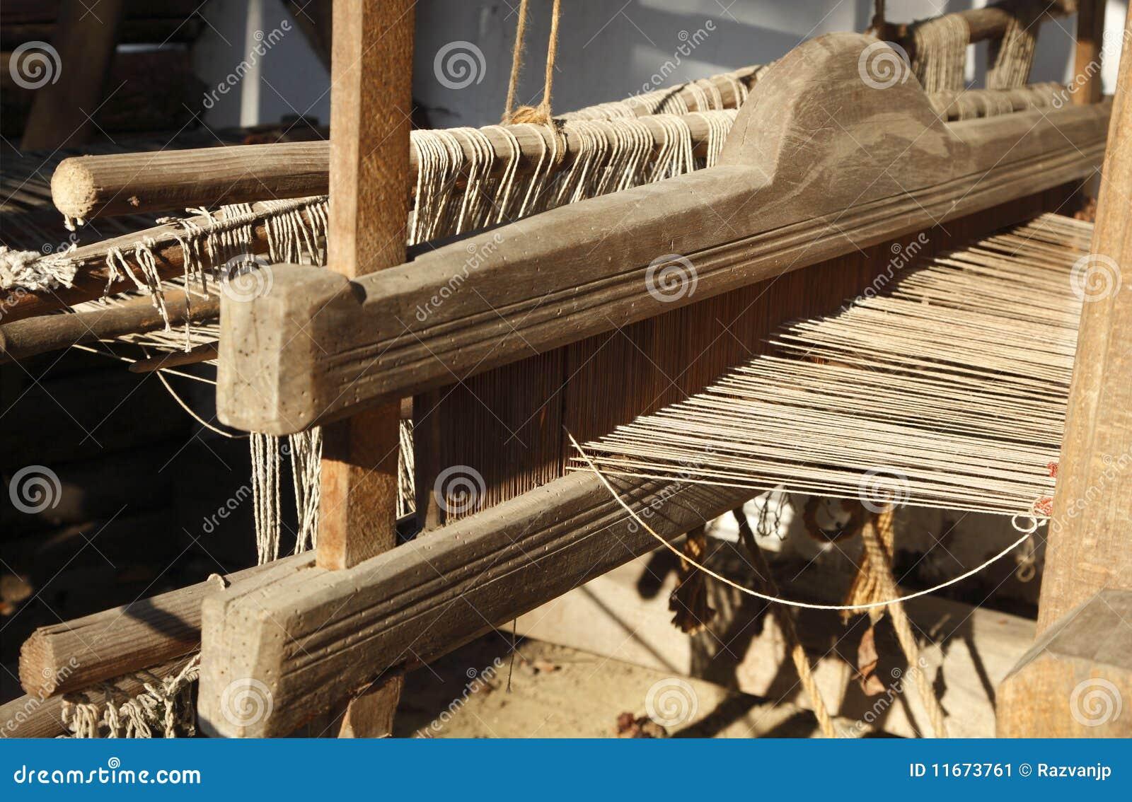 Detalhe do tear de tecelagem da mão