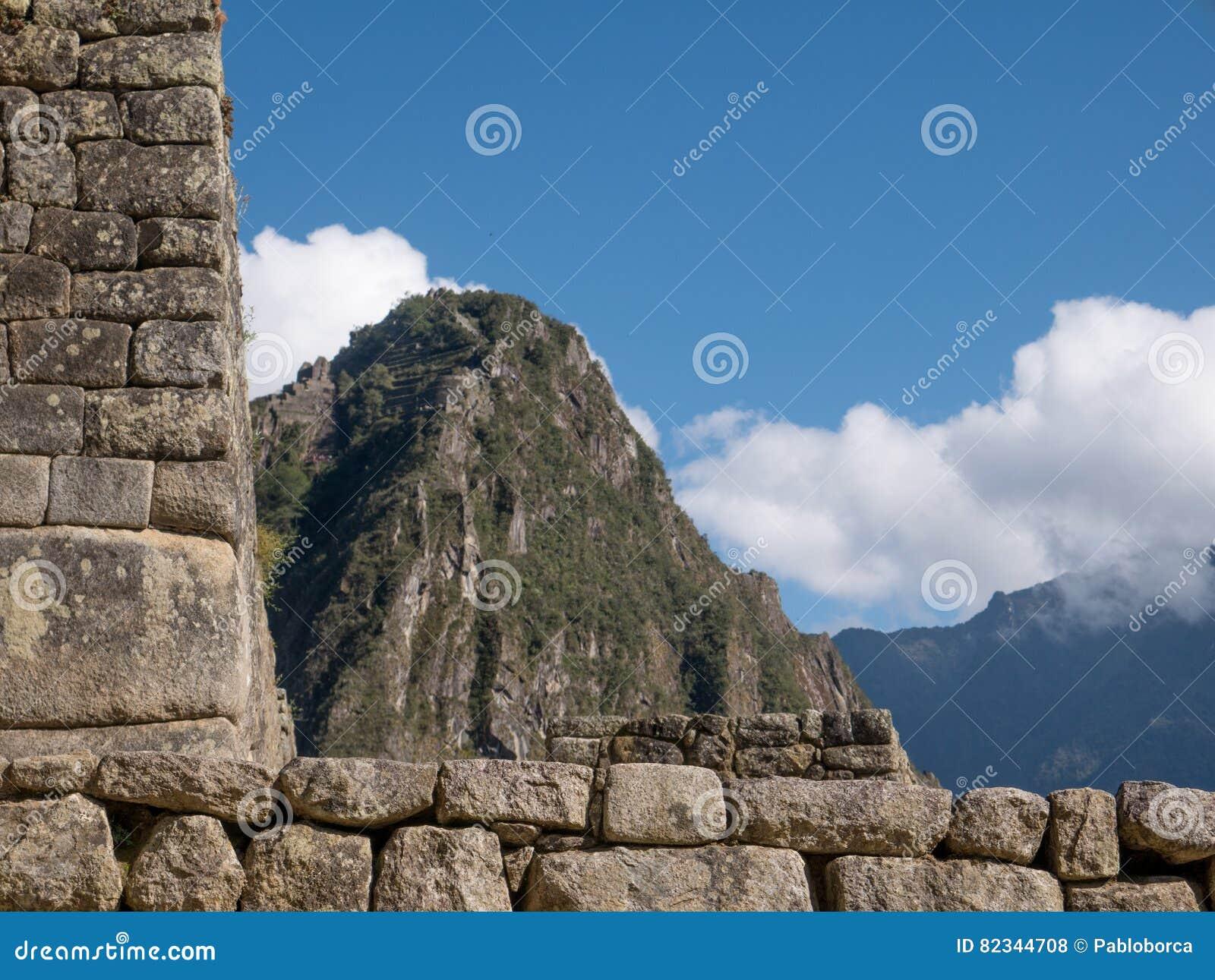 Detalhes da arquitetura de ruínas de Machu Picchu