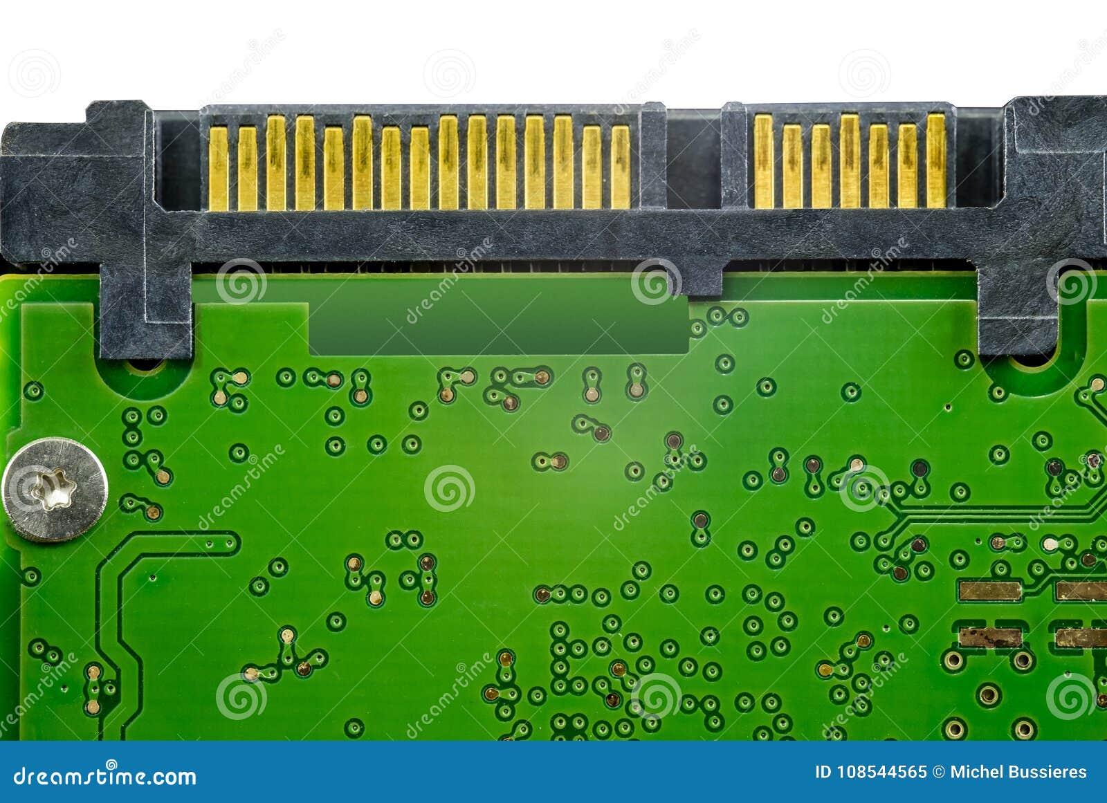 Detalhes da placa de circuito com conectores