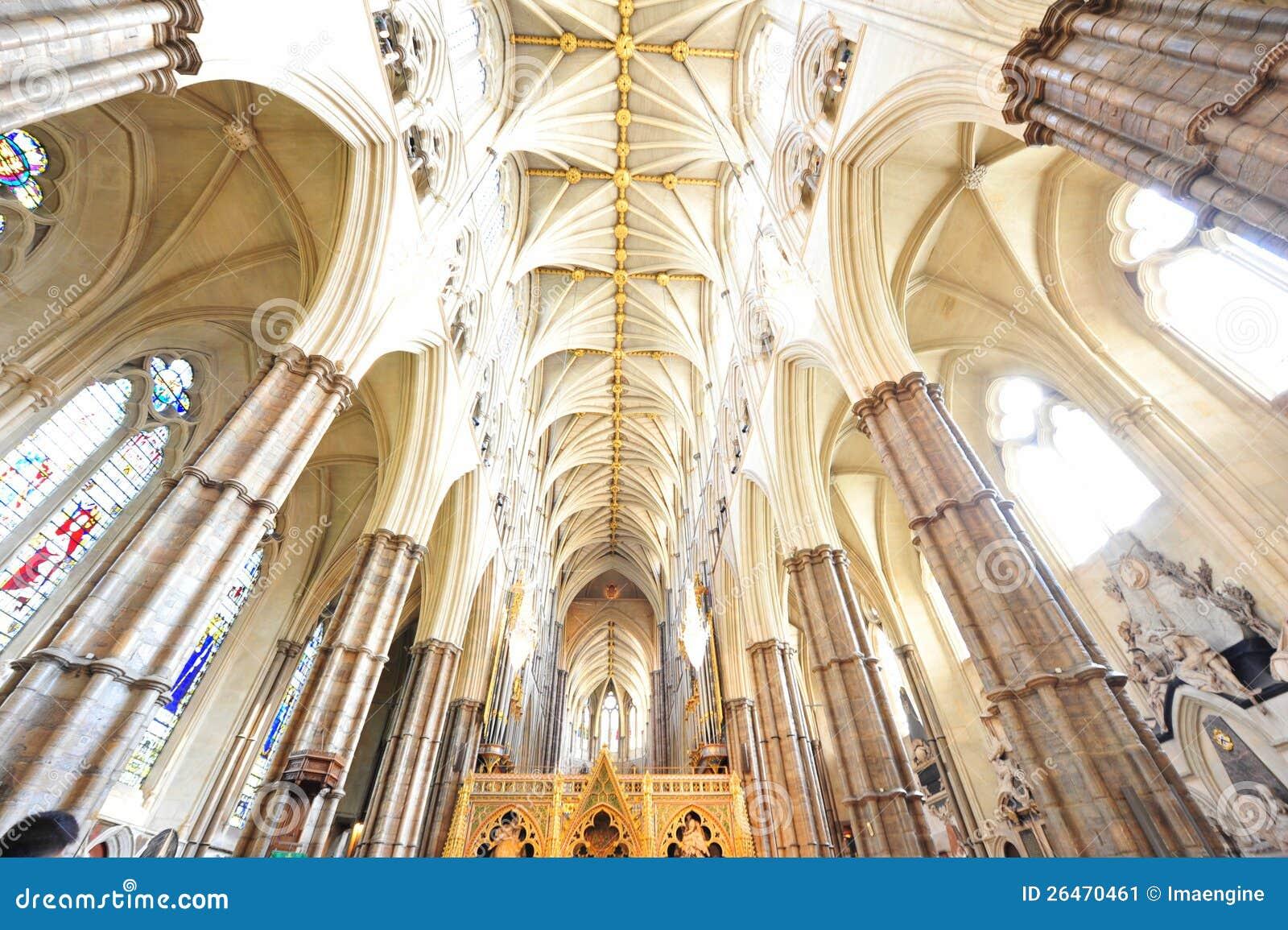 Detalhes góticos interiores da abadia de Westminster
