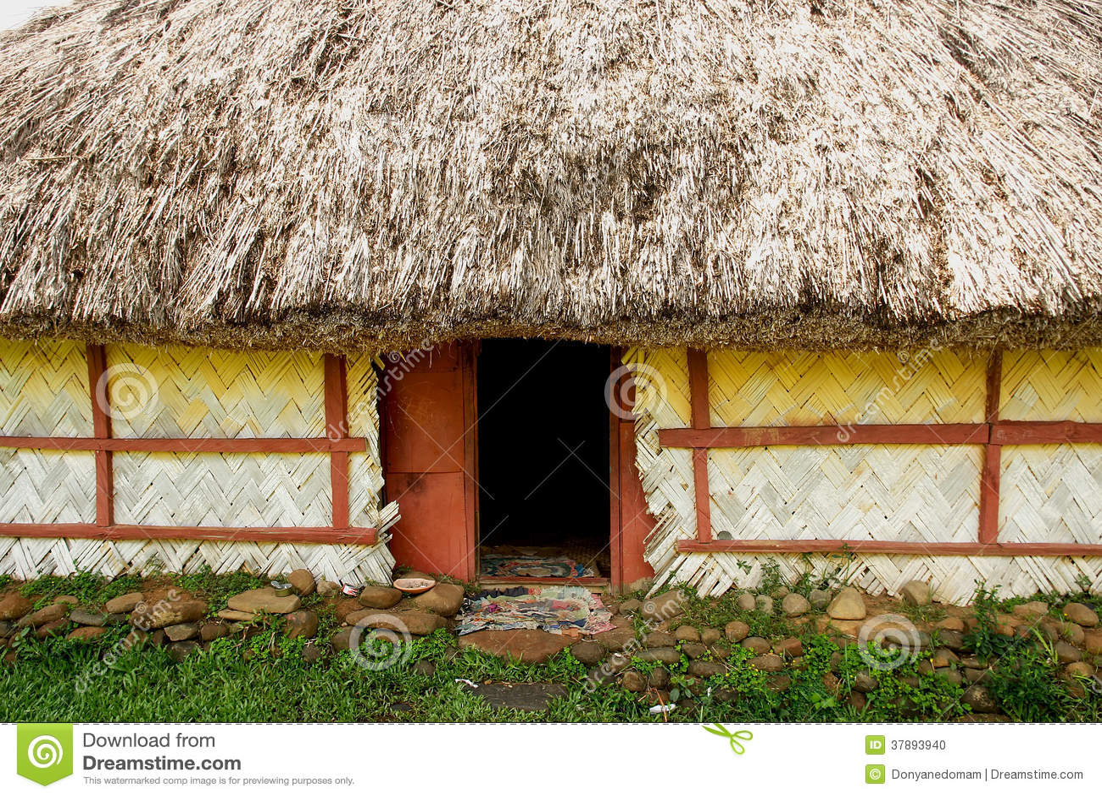 Detalj av det traditionella huset av den Navala byn, Viti Levu, Fiji