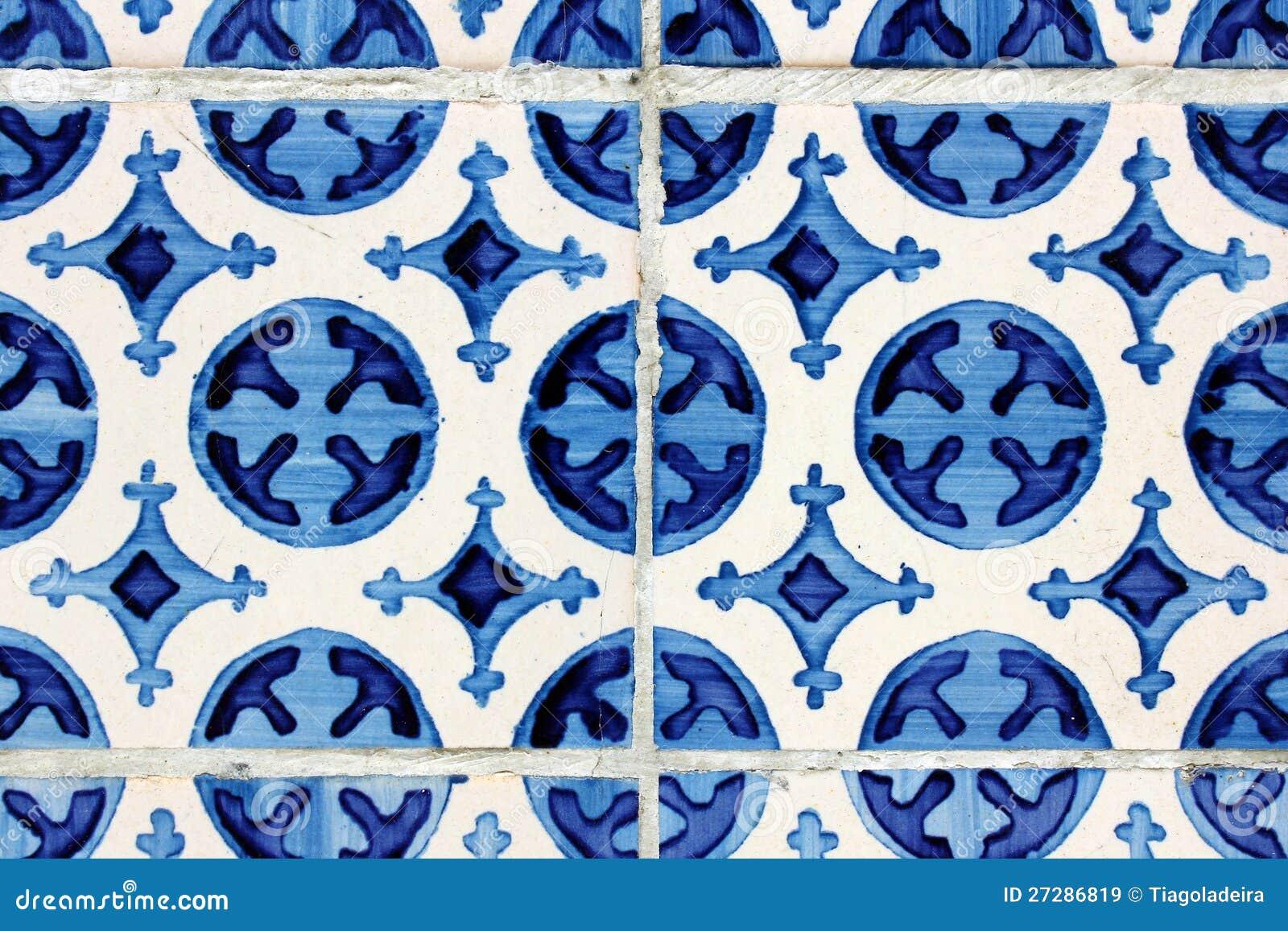 Detalj av några portugistegelplattor (azulejos)