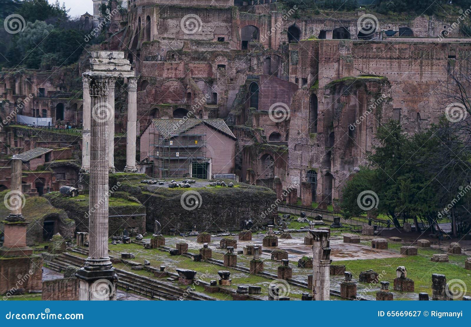 Detalj av Roman Forum i Rome, Italien