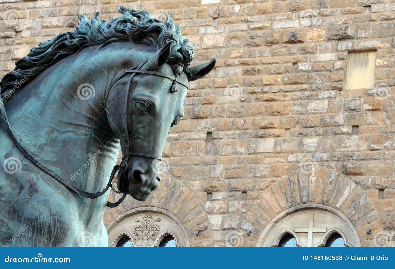 Detalj av skulpturen av Cosimo De 'Medici på hästryggen - Florence