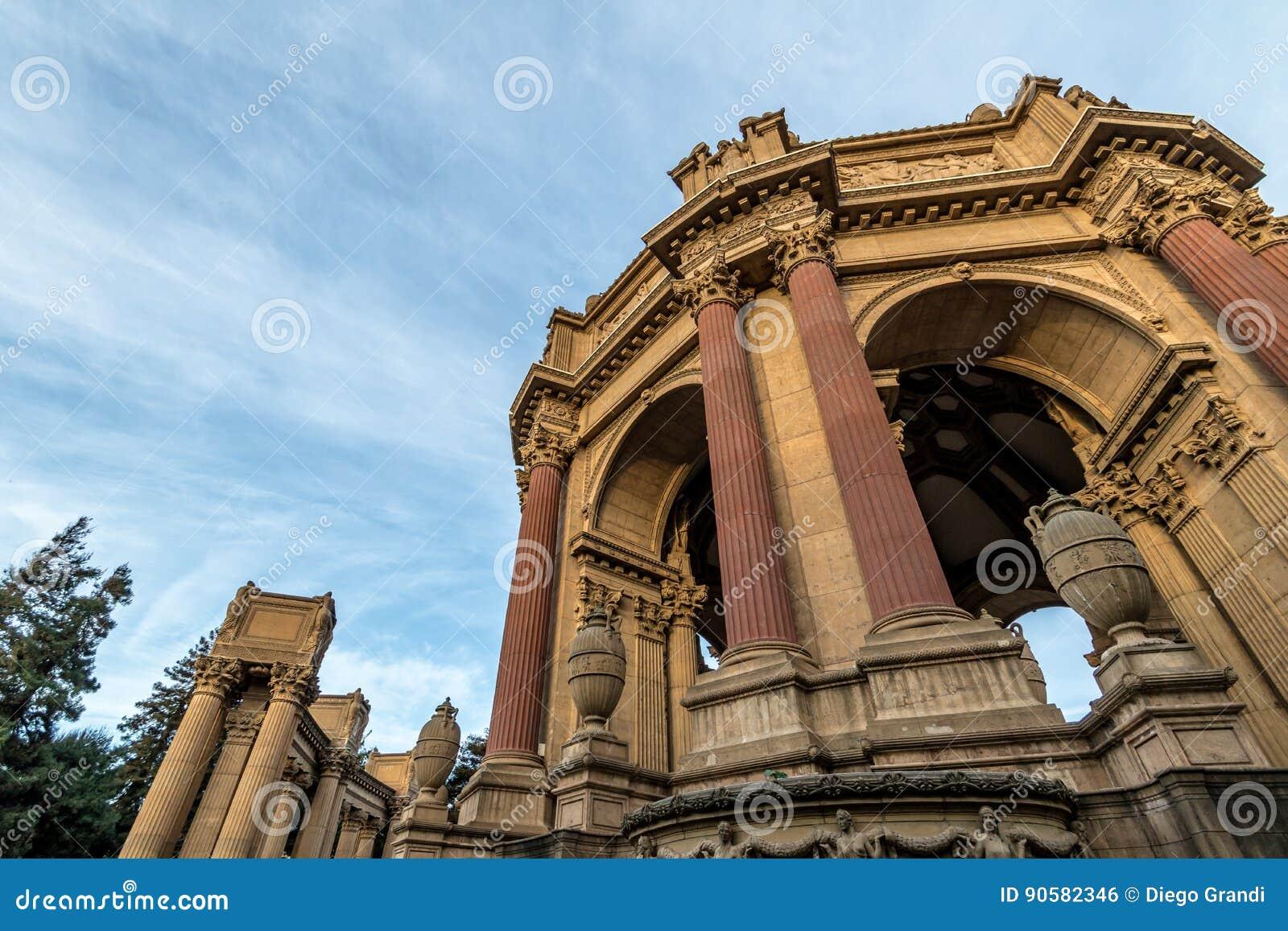 Detalj av slotten av konster - San Francisco, Kalifornien, USA