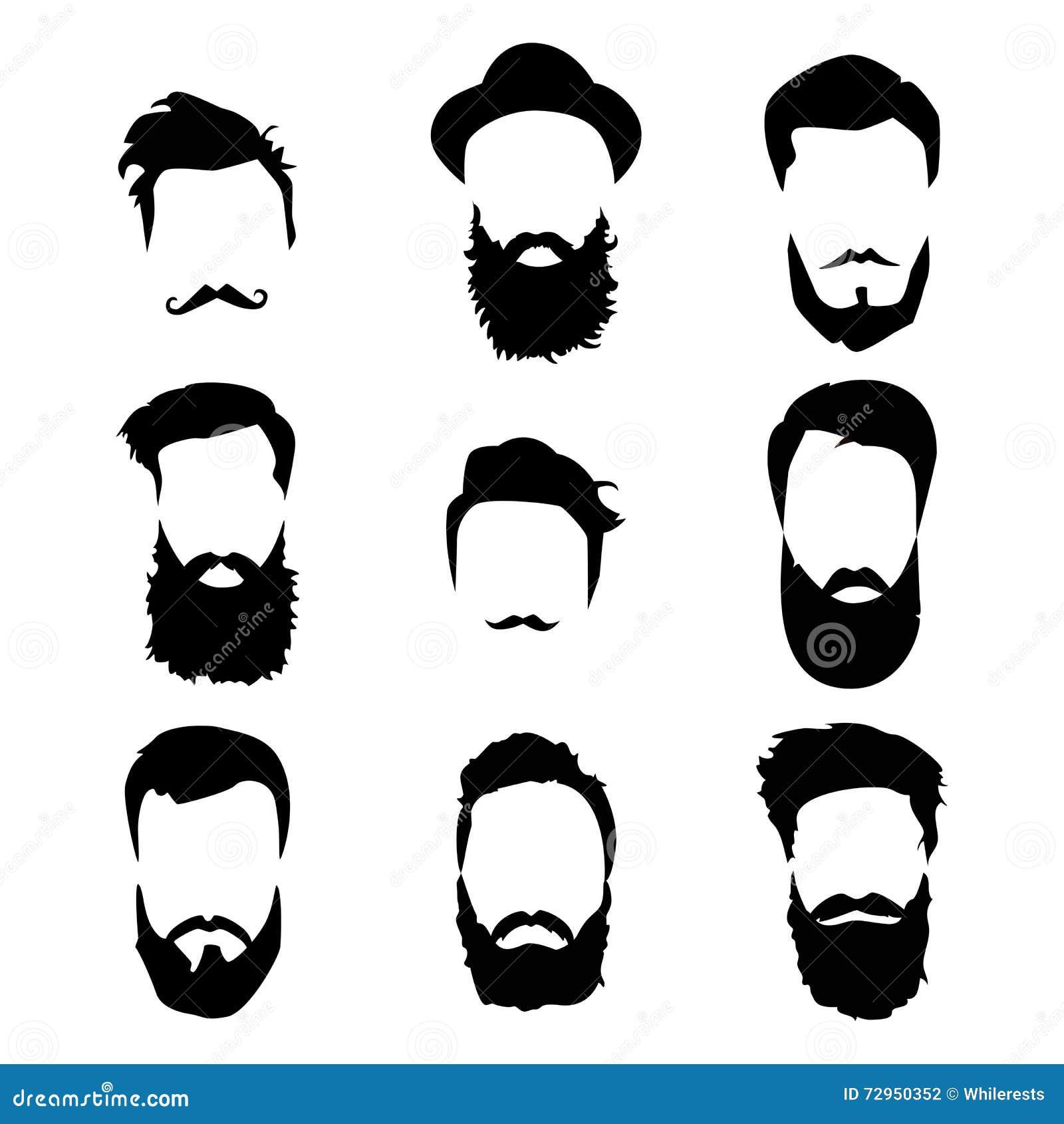 Detaljerad hår för Hipster och skägguppsättning Skäggig man för mode Långt skägg med ansikts- hår Skägg som isoleras på vit