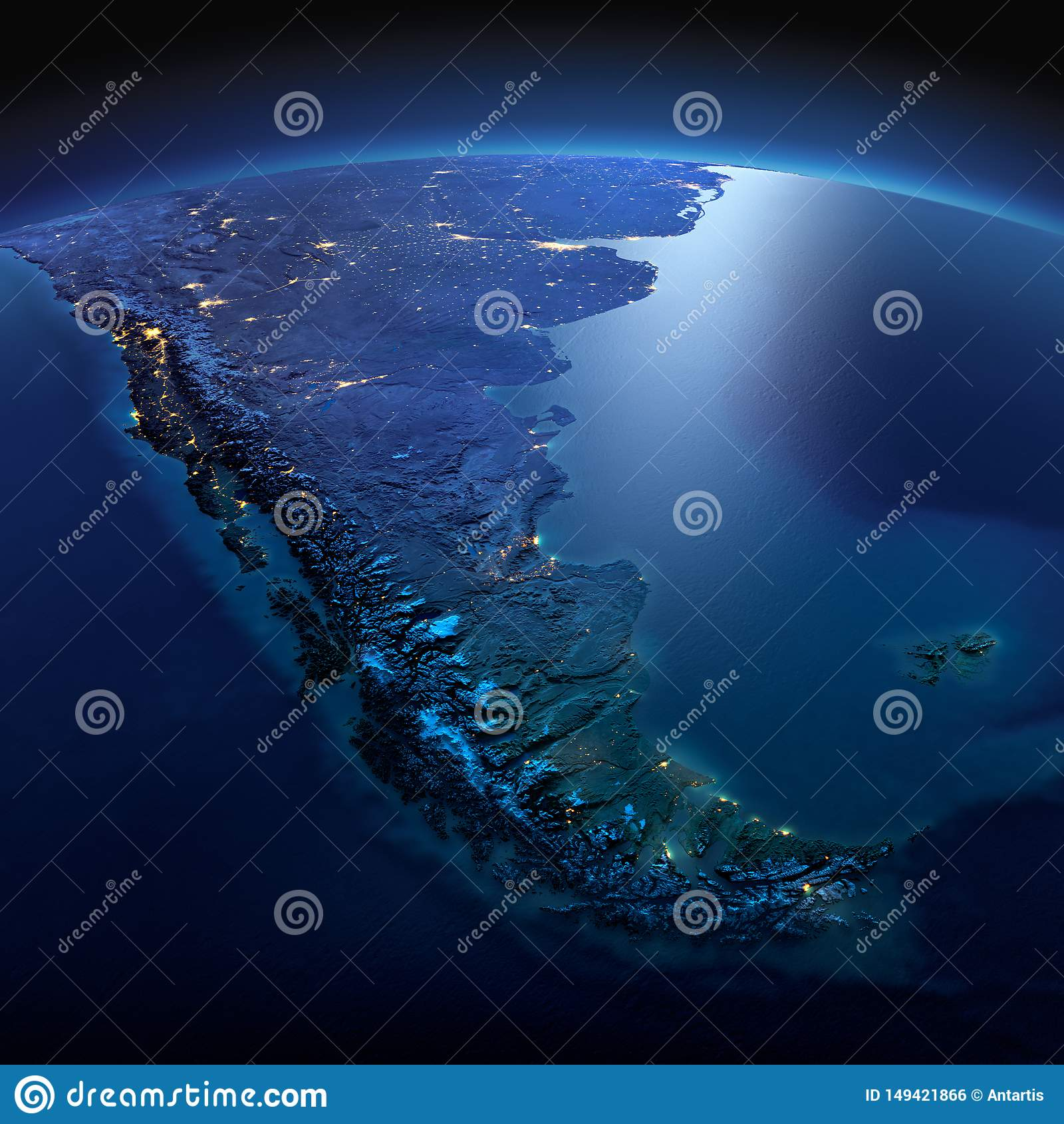 Detaljerad jord h?rligt dimensionellt diagram illustration s?dra tre f?r 3d Amerika mycket Tierra del Fuego p? en m?nbelyst natt