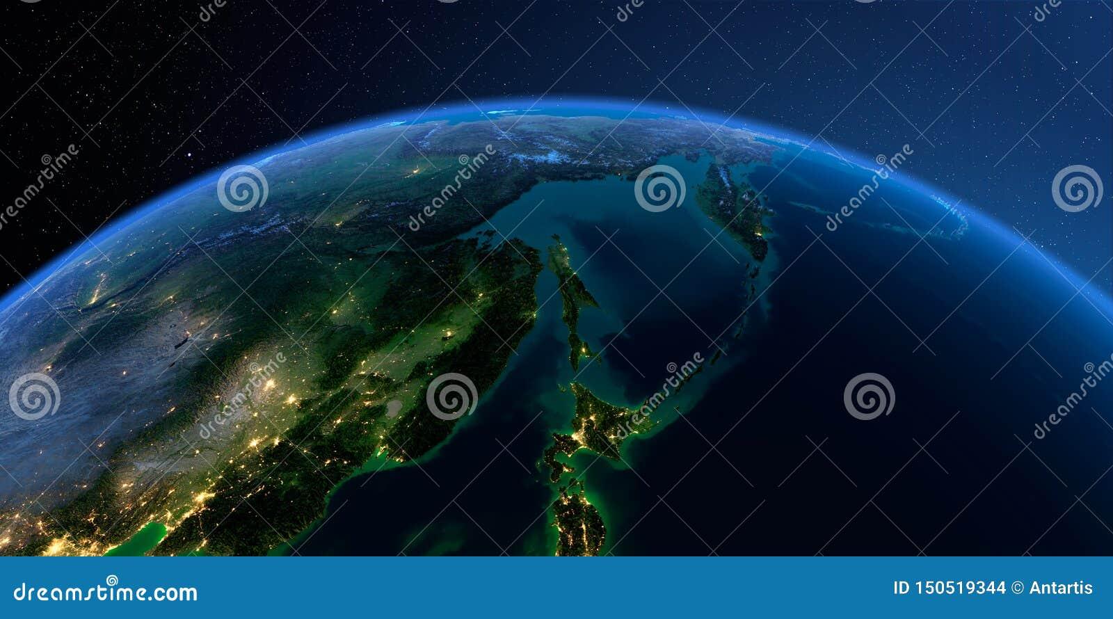 Detaljerad jord Ryska Far East, havet av Okhotsk på en månbelyst natt