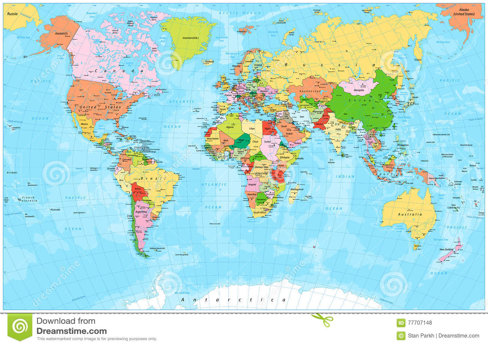 Detaljerad politisk världskarta med huvudstäder, floder och sjöar