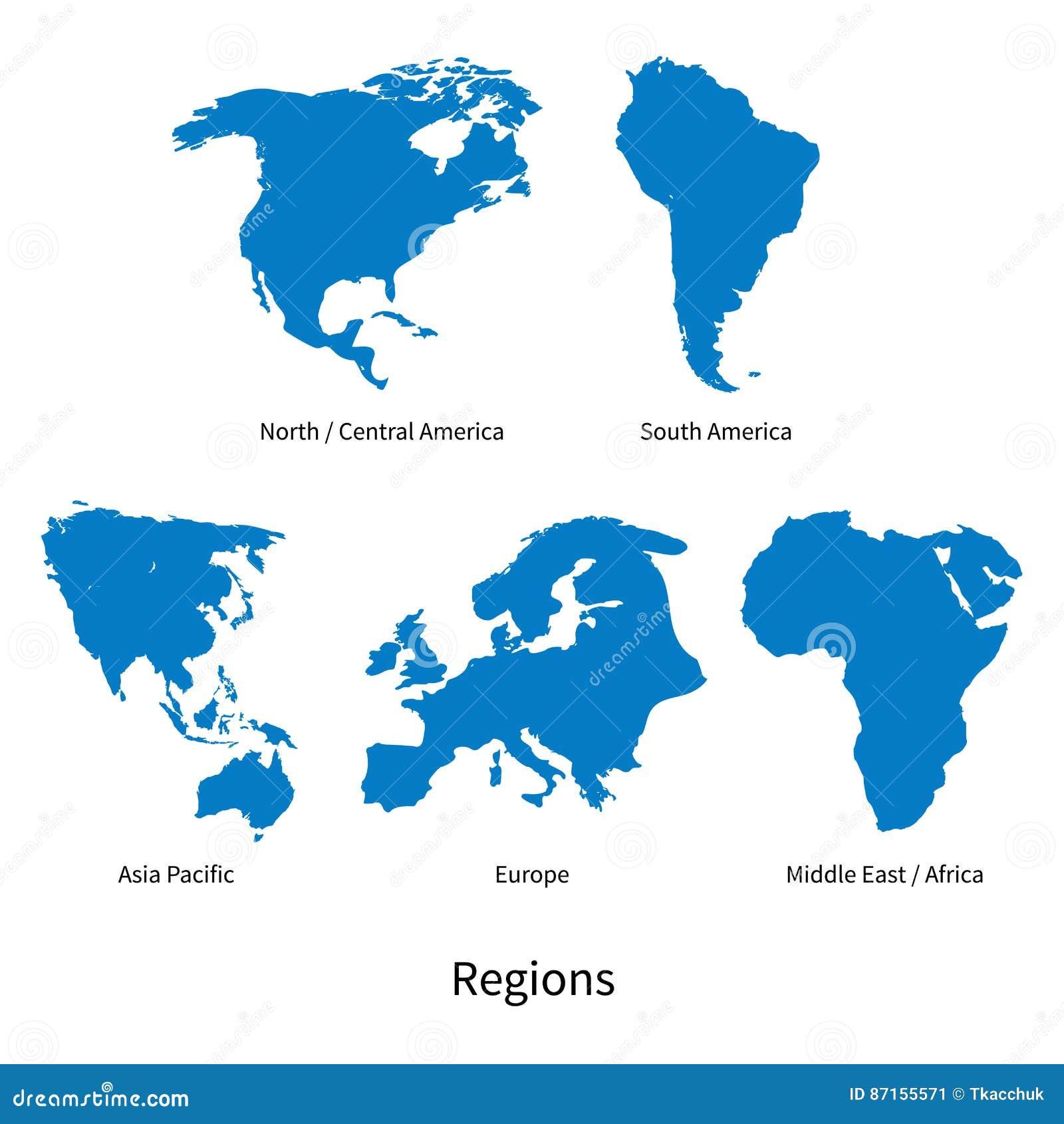 Detaljerad vektoröversikt av norden - Central America, Asia Pacific, Europa, Sydamerika, mitt och East Africa regioner