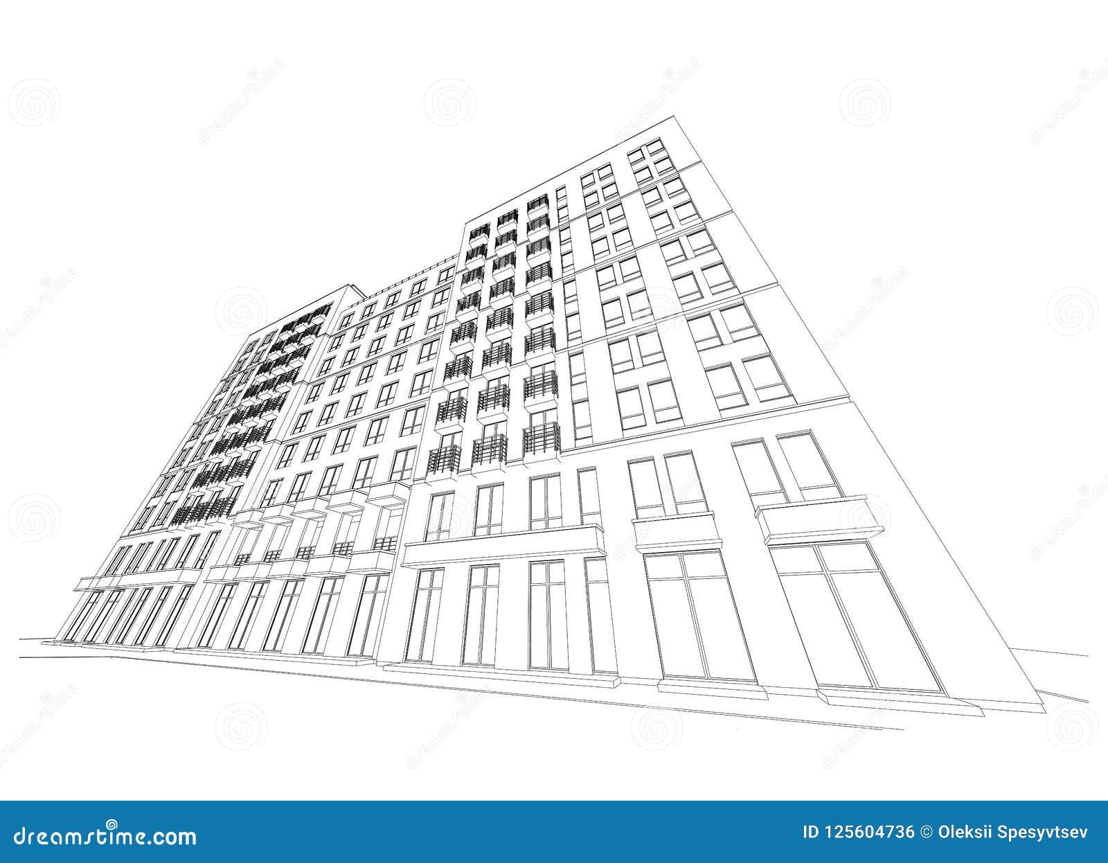 Detaljerat arkitektoniskt plan av flervånings- byggnad med att minska perspektiv också vektor för coreldrawillustration