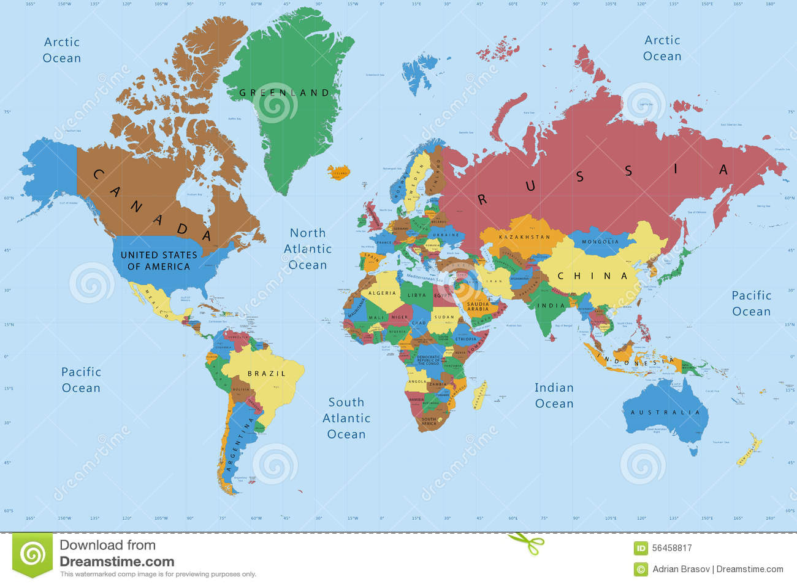 Detallado político del mapa del mundo