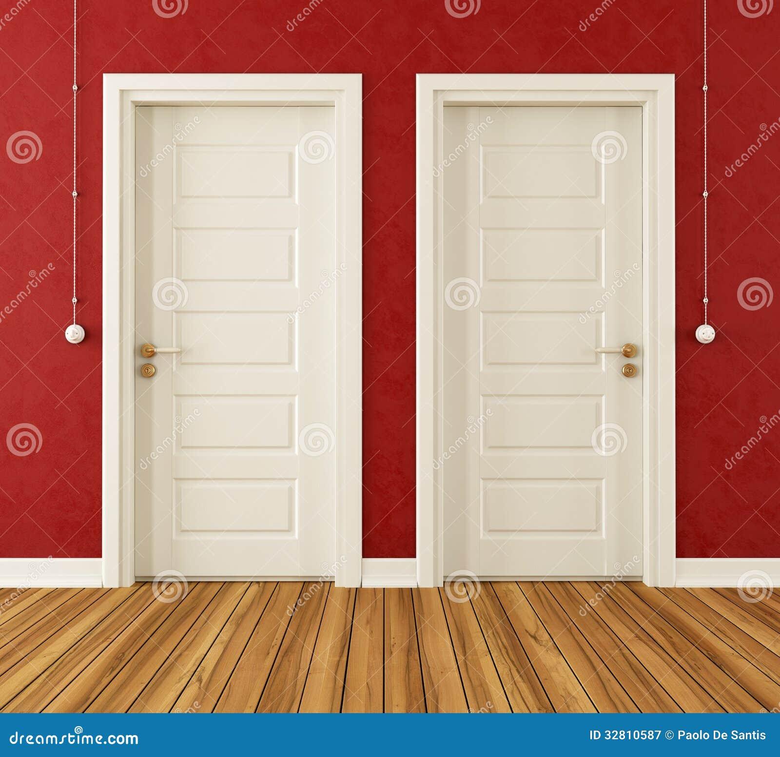 Detalle de dos puertas blancas stock de ilustraci n for Puertas 3 de febrero