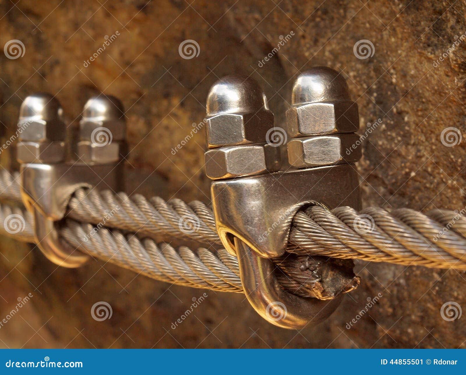 Detalle de la abrazadera del tornillo en el extremo de la cuerda del irone Los escaladores planchan la cuerda torcida fijada en b