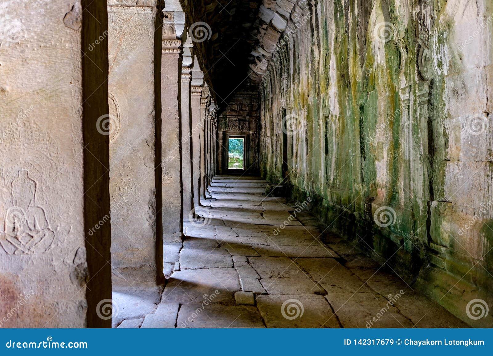 Detalle de la puerta antigua en TA Prohm Angkor Wat Cambodia