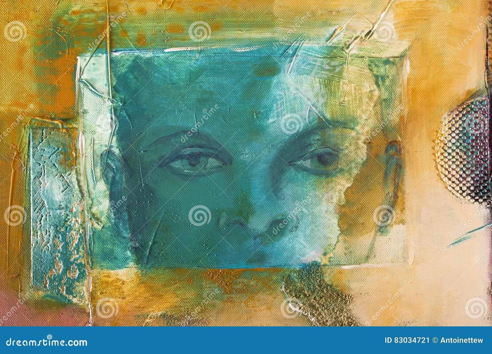 Detalle de una pintura de acrílico abstracta moderna con una cara ficticia